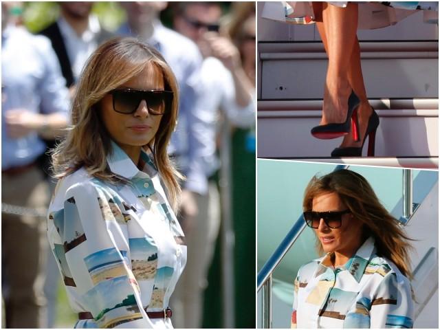 Fashion Notes: Melania Trump Jet-Sets to Japan in Calvin Klein Postcard Charm